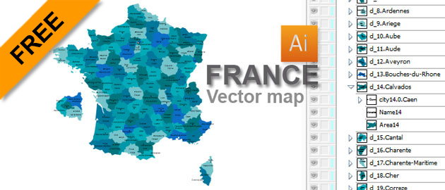 Free France Vector Map2