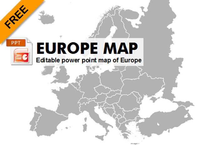 Free editable powerpoint map of Europe