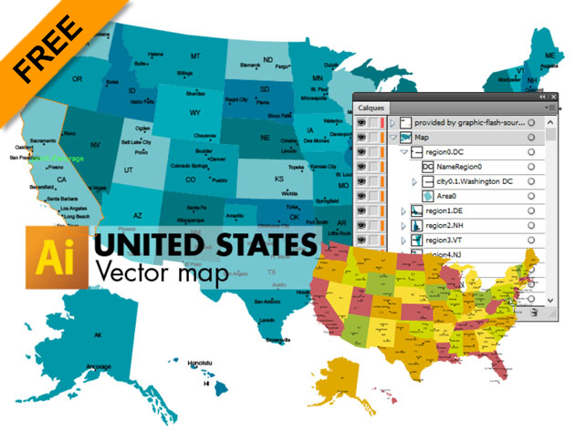 3 free vector maps of united states