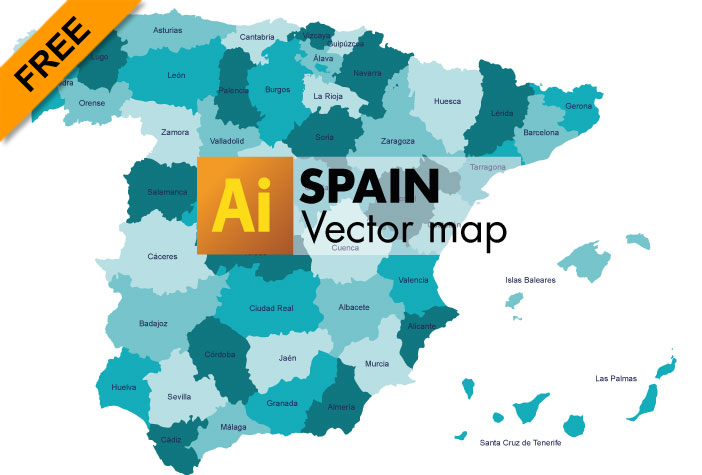 Free Vector Map of Spain Graphicflashsources
