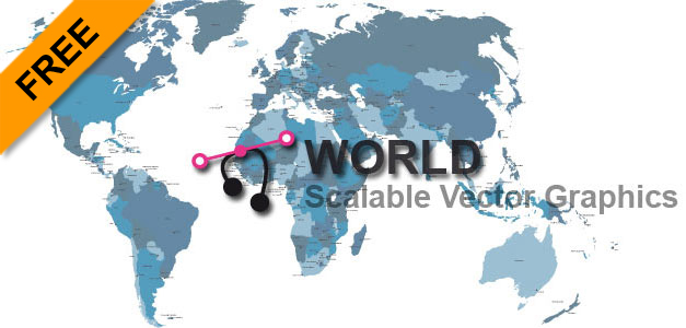 Scalable Vector Graphics Size: 485 ko. Detailed Vector world map with states